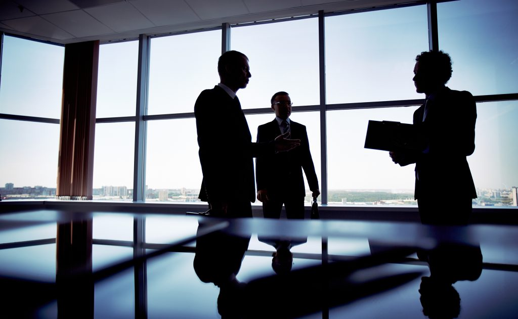 Silhouette of business meeting