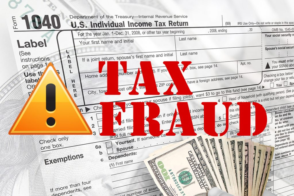 Tax Fraud in red text over tax document